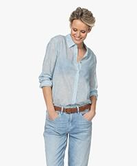 Belluna Smile Voile Bloemenprint Overhemdblouse - Lichtblauw
