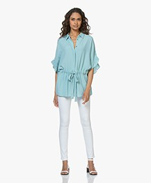 Repeat Viscose Blouse with Ruffle Sleeves - Ice Green