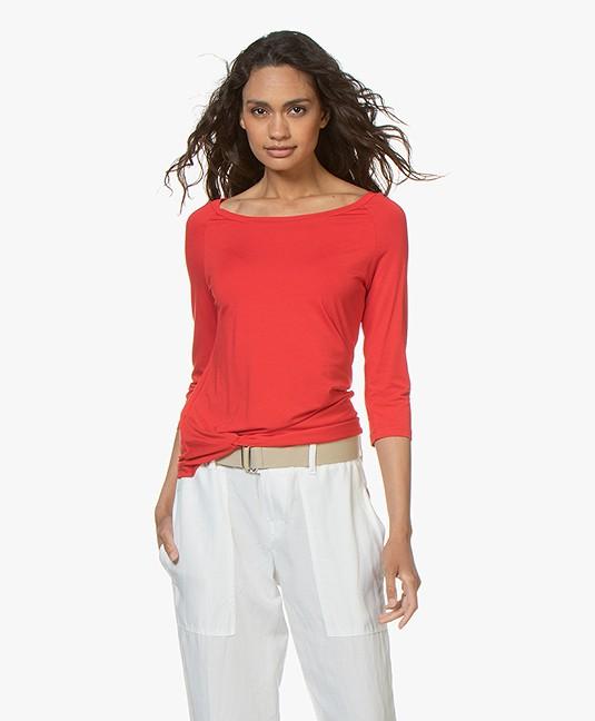 no man's land T-shirt met Knoopdetail - Rood
