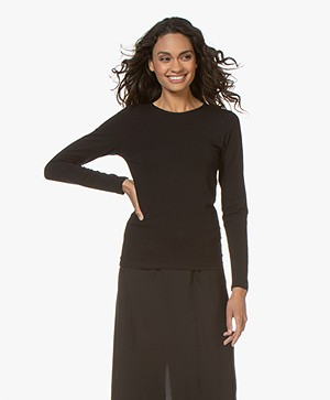 Filippa K Cotton Stretch Long Sleeve - Black