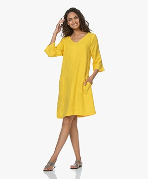 Kyra & Ko Sjimmie Linen Tunic Dress - Lemon