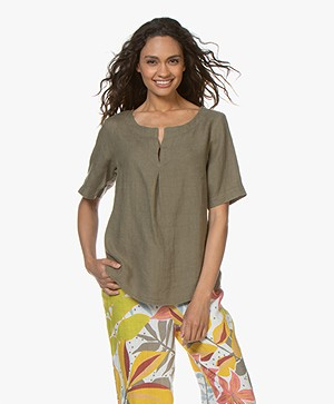 Kyra & Ko Lola Linen Blouse with Short Sleeves - Khaki