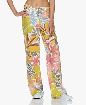 Kyra & Ko Xionne Linen Print Pants - White