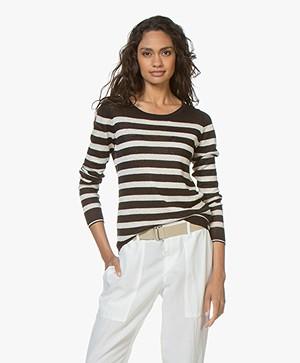 Plein Publique La Lina Striped Linen Sweater - Black/Off-white