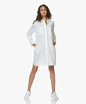 Repeat Cotton Poplin Shirt Dress - White