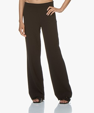 Woman by Earn Tine Wide Leg Crepe Pants - Black