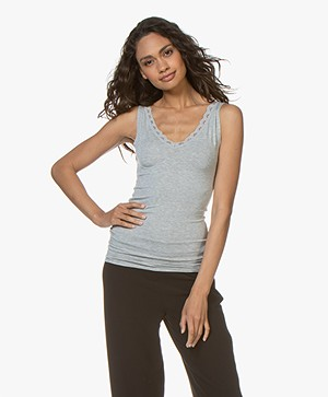 BY-BAR Double V-neck Top with Lace - Grey Melange