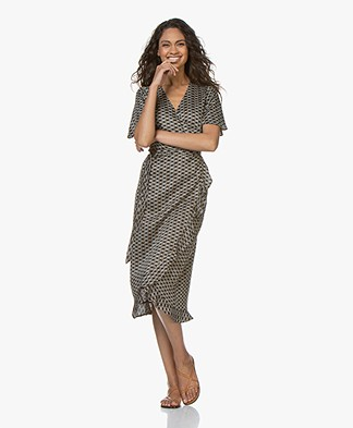 Plein Publique L'Etoile Viscose Printed Wrap Dress - Cercles