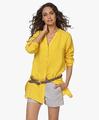 Kyra & Ko Shanti Linen Tunic Blouse - Lemon