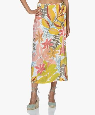 Kyra & Ko Leen Linen Print Wrap Skirt – White