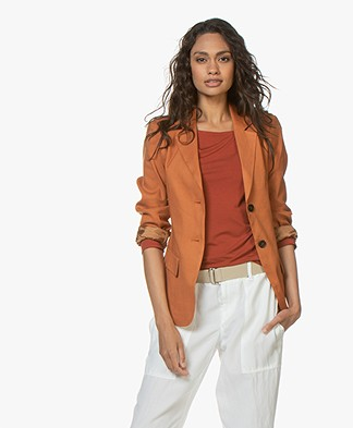 Woman by Earn Ann Linen Blend Blazer - Burnt Orange