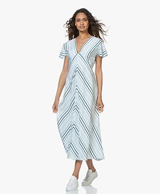 Drykorn Briana Striped A-line Dress - White/Green