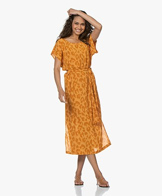 Drykorn Odelia Viscose Printed Midi Dress - Orange