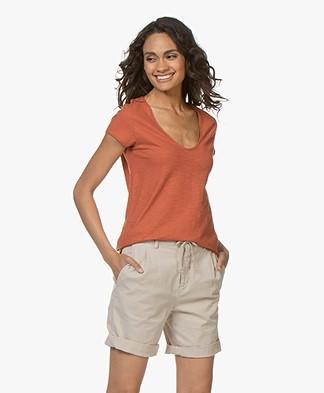 Drykorn Avivi Slub Jersey T-shirt - Terracotta Orange