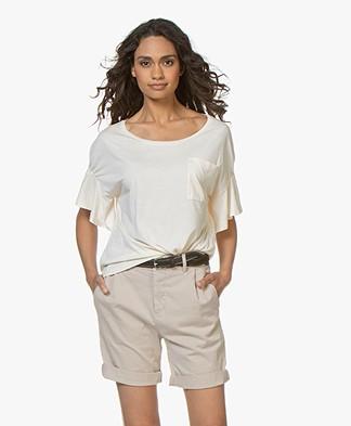 Drykorn Erlana T-shirt met Volantmouwen - Crème