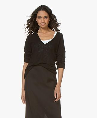 Drykorn Linna Linen Blend V-Neck Rib Sweater - Black