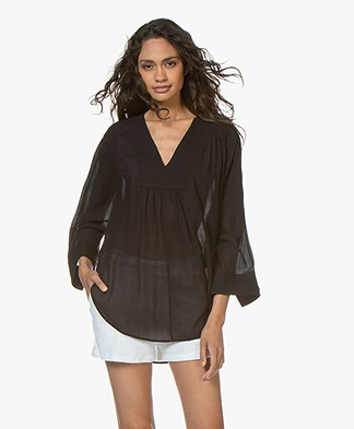 Filippa K Soft Sport Gathered Beach Tunic Blouse - Black
