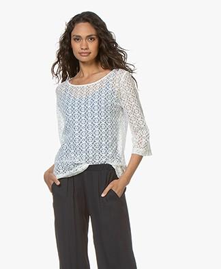 no man's land Lace Cropped Sleeve T-shirt - Ivory