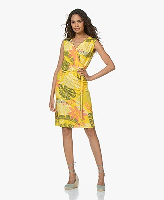 Kyra & Ko Felda Printed Jersey Dress - Lemon