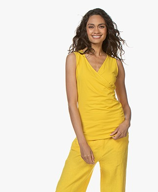 Kyra & Ko Kiana Jersey Wrap Top - Lemon