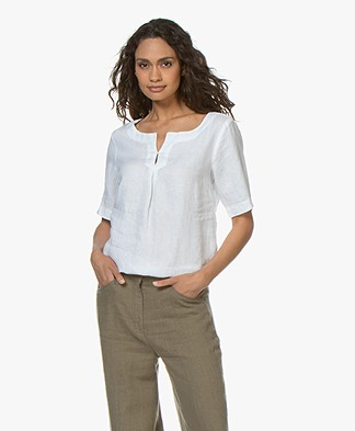 Kyra & Ko Lola Linen Blouse with Short Sleeves - White