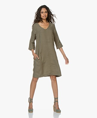 Kyra & Ko Sjimmie Linen Tunic Dress - Khaki