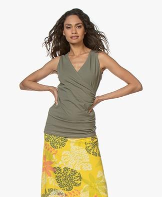 Kyra & Ko Kiana Jersey Wrap Top - Khaki
