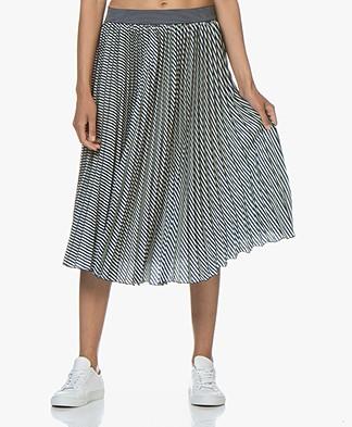 MKT Studio Jigou Plisse Midi Print Skirt - Craie