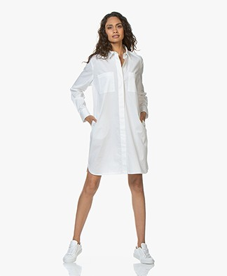 Repeat Cotton Poplin Shirt Dress - White