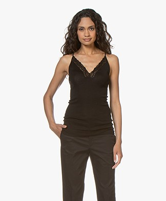 Vanessa Bruno Bretelle Camisole with Lace - Black