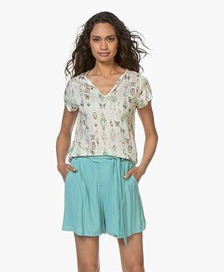 Zadig & Voltaire Tunisien Linen Kilim Print T-shirt - Ecru