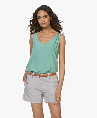 ba&sh Figue Reversible Crepe Top - Watercolor Green