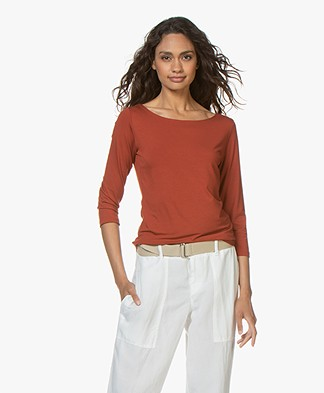 no man's land Cropped Sleeve T-shirt - Cinnamon