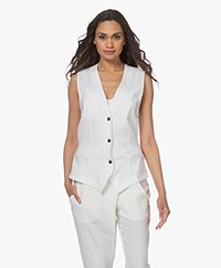 Woman by Earn Giles Linnen Gilet - Off-white