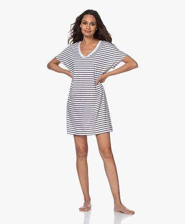 HANRO Laura Gestreept Jersey Nachthemd - Donkerblauw/Wit