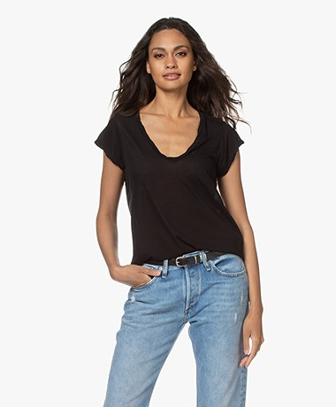James Perse V-neck T-shirt in Extrafine Jersey - Black
