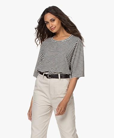 Closed Striped Raglan Sleeve T-shirt - Black/Ivory