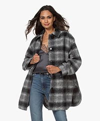 IRO Belling Tartan Wool Blend Jacket - Mixed Grey