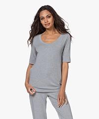 HANRO Yoga Modal Jersey Scoop T-shirt - Grit Melange