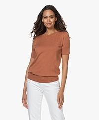 Plein Publique La Femme Pointelle Short Sleeve Pullover - Caramel