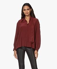 IRO Malaca Oversized Silk Blouse - Burgundy