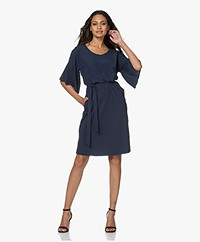 JapanTKY Clany Travel Jersey Butterfly Sleeve Dress - Navy