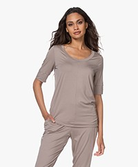 HANRO Yoga Modal Jersey Scoop T-shirt - Taupe