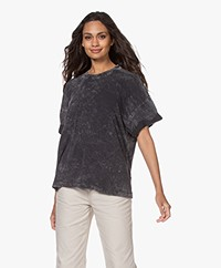 IRO Martya Acid Wash Lyocell Mix T-shirt - Off-black/Greige