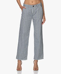 Rag & Bone Buckley Striped Cotton Pants - Indigo/Off-white