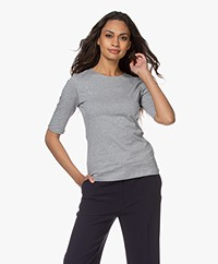 Filippa K Cotton Stretch Elbow Sleeve T-shirt - Grijs Mêlee