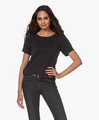 Plein Publique La Poppy Modalmix Piqué T-shirt - Zwart