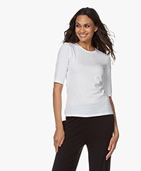 Filippa K Cotton Stretch Elbow Sleeve T-shirt - White