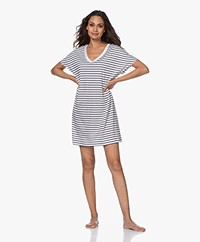 HANRO Laura Striped Jersey Nightshirt - Dark Blue/White