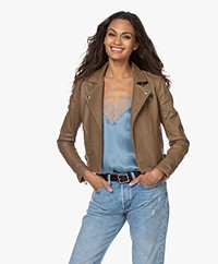 IRO Ashville Leather Biker Jacket - Olive Green